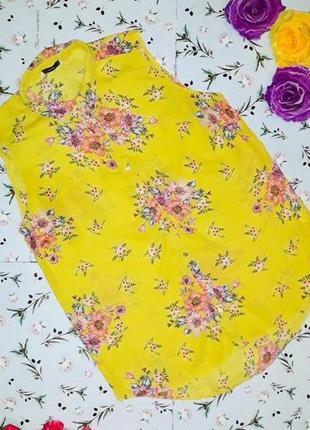 🎁1+1=3 стильная яркая желтая блуза блузка george с цветами, размер 46 - 48