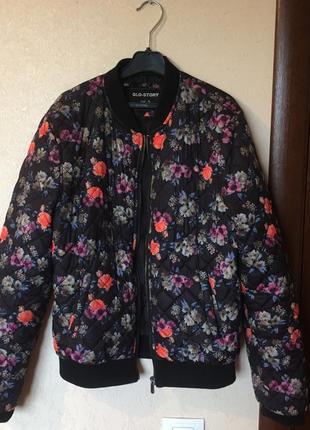 Бомбер цветочный/куртка в цветы
