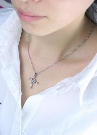 Посріблений хрестик на цепочці, цирконій. hand made 40 грн 40 грн