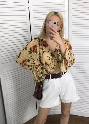 Невагома квіткова блузка з воздушними рукавами zara, нова!