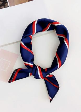 Платок платочек бант лента для волос на сумку топ-качество синий в полоску