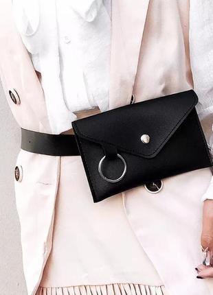 Поясная сумка на пояс бананка черная с кольцом новая2 фото