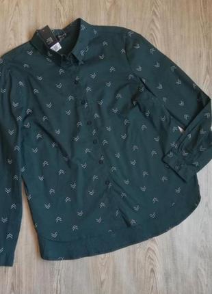 Стильная женская рубашка прямого кроя, изумрудного цвета esmara