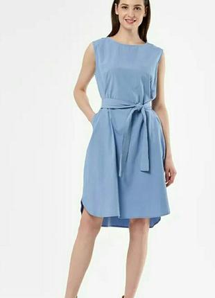 Платье хлопковое с поясом.  платье котоновое прямого кроя