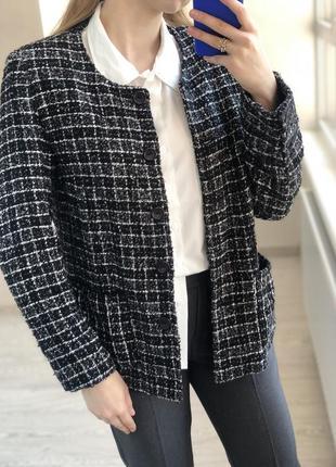 Пиджак длинный в клетку черно-белый с шерстью olivia