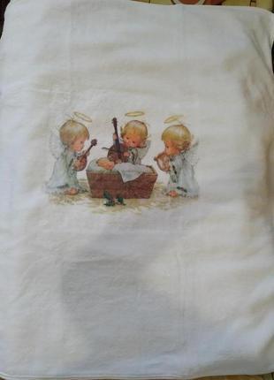 """Детское, большое, махровое полотенце """"ангелочки"""""""