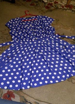 Натуральное,летящее,сиреневое платье в горох,юбка-клёш,пояс,карманы,большой размер
