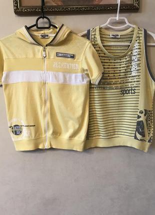 Комплект майка-борцовка и спортивная куртка 140