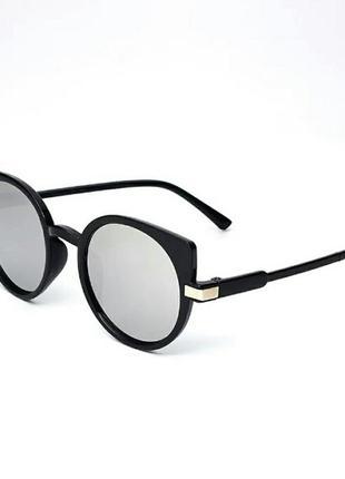 Стильные зеркальные солнцезащитные очки кошачий глаз ретро винтаж серебристые