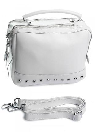 Женская кожаная белая сумка на плечо, кроссбоди, клатч, новинка 2020