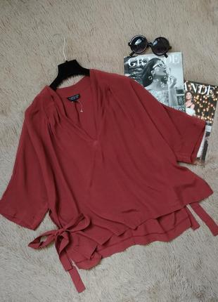 Шикарная блузка с разрезами по бокам на завязках/блуза/кофточка