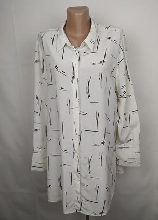 Блуза шикарная шелковая в принт 100% шелк большого размера autograph uk 18/46/xxl