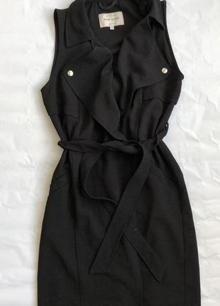 Платье жилет пиджак на запах тренд чёрное с поясом лето летнее river island