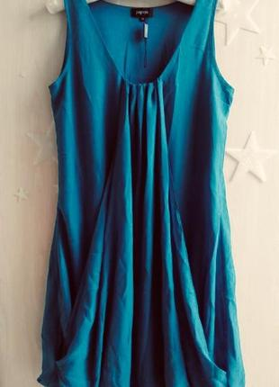 Платье шифоновое свободный крой балахон сарафан летний морская волна