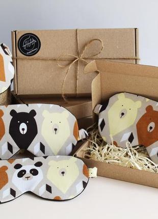 Маска для сна - медведи киев, повязка на глаза днепр, маска для сна панда львов