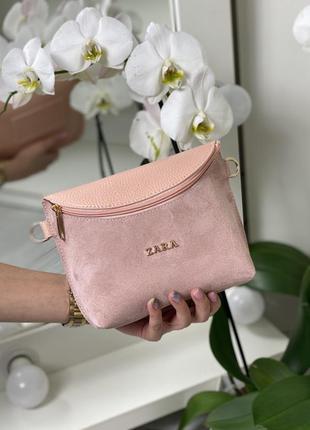 Поясная сумка-клатч натуральная замша и кожзам