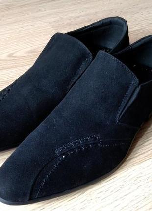 Мужские замшевые туфли черные классика avacaro