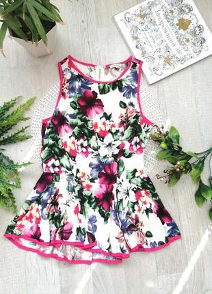 Блузка с баской актуальная с цветочным принтом брендовая
