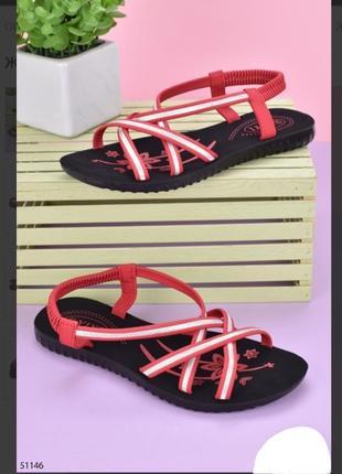 Стильные красные босоножки сандалии на плоской подошве низкий ход
