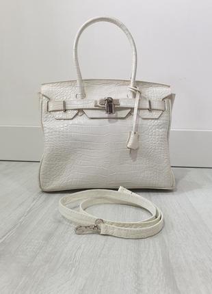 Итальянская кожаная сумка в стиле hermes