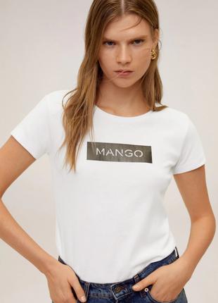 Белая базовая футболка mango, размеры  s 36-38