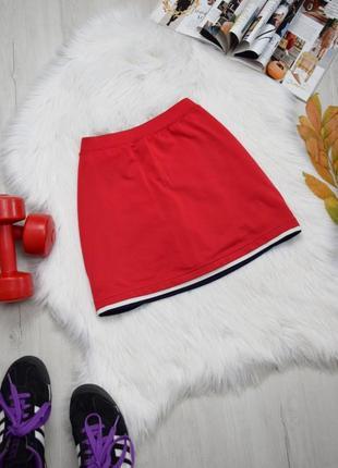Спортивная юбка шорты красная с лампасами теннисная
