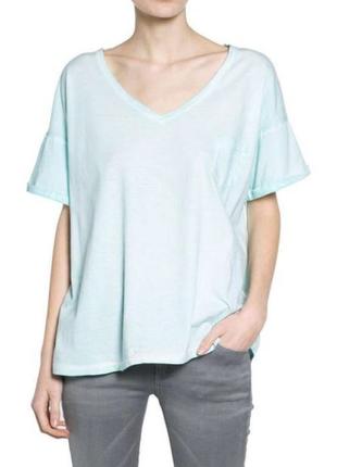 Хлопковая футболка mango oversize / s-m / цвет голубой