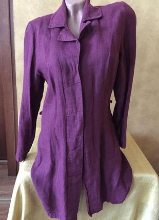 Льняной удлинённый жакет пиджак лён кардиган накидка рубашка