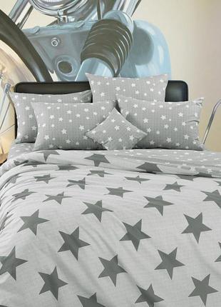 Орион, постельное белье серые звезды перкаль 100% хлопок