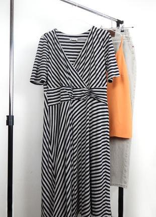 Роскошное брендовое летнее платье миди в полоску верх на запах юбка трапеция