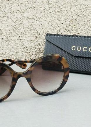 Gucci очки женские солнцезащитные круглые тигровые коричневые
