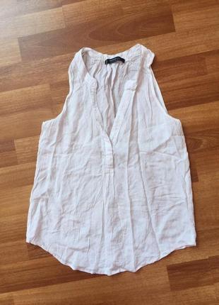 Блузка, блуза с вырезом треугольник, без рукавов, майка mango