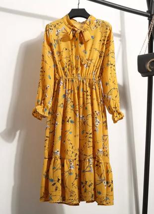 Распродажа! желтое горчичное платье шифоновое летнее миди цветочный принт жовте плаття