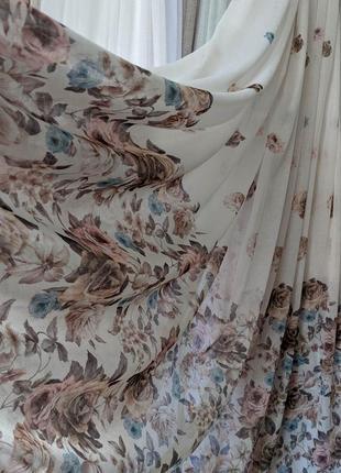 Чудесный льняной тюль с цветами