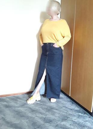 Джинсовая юбка макси  передний разрез