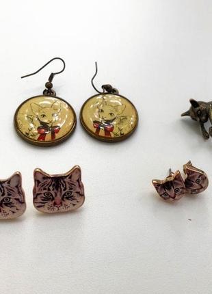 Комплект украшений с котами серьги гвоздики кольцо с котом