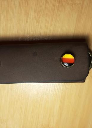 Кожаная ключница ручной работы на три карабина1 фото