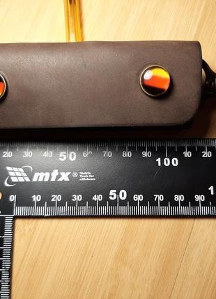 Кожаная ключница ручной работы на три карабина6 фото
