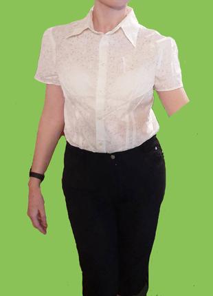 Белая блузка в школу на работу с коротким рукавом