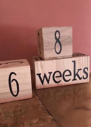Дерев'яні кубики для фотосесій вагітних,немовлят,нові2 фото