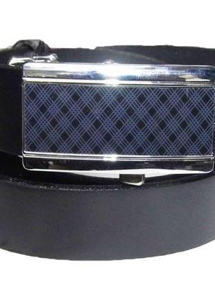 Ремень tom&rose 110 черный c синим польша кожа