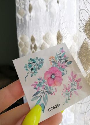 Акварельные цветные временное флэш-тату цветы квіти тимчасове кольорове флеш-тату|обмен