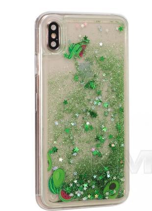 Чехол с блестками tpu case — huawei p20 lite — green