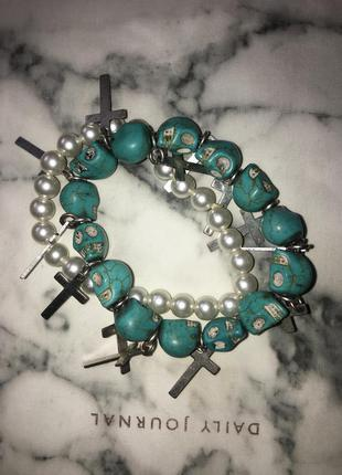Крутой грандж браслет из бирюзовых  камней