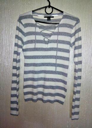 Кофта на шнуровку  atmosphere в полоску в рубчик серый белый свитер