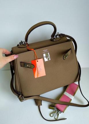 Брендовая сумка шоппер бежевая 30 см
