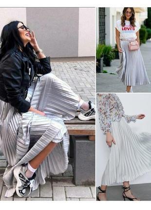 Жемчужная юбка плиссе миди zara, новая коллекция, последний размер