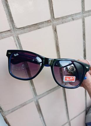 Ray ban унисекс вайфареры чёрные с синим круие очки