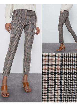 Укороченные брюки в клетку zara, новая коллекция, xs, s, m