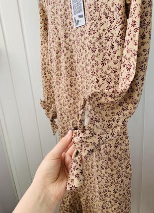Распродажа: все от 99 грн! только до 5.06!  льняное платье бежевое в цветы новое4 фото